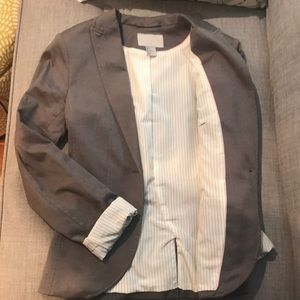 H&M Work Blazer Grey with Striped Lining Size 2